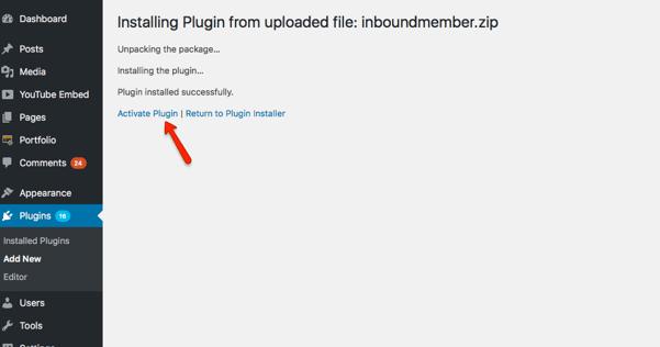 04-activate-plugin - Inbound Member - HubSpot membership site